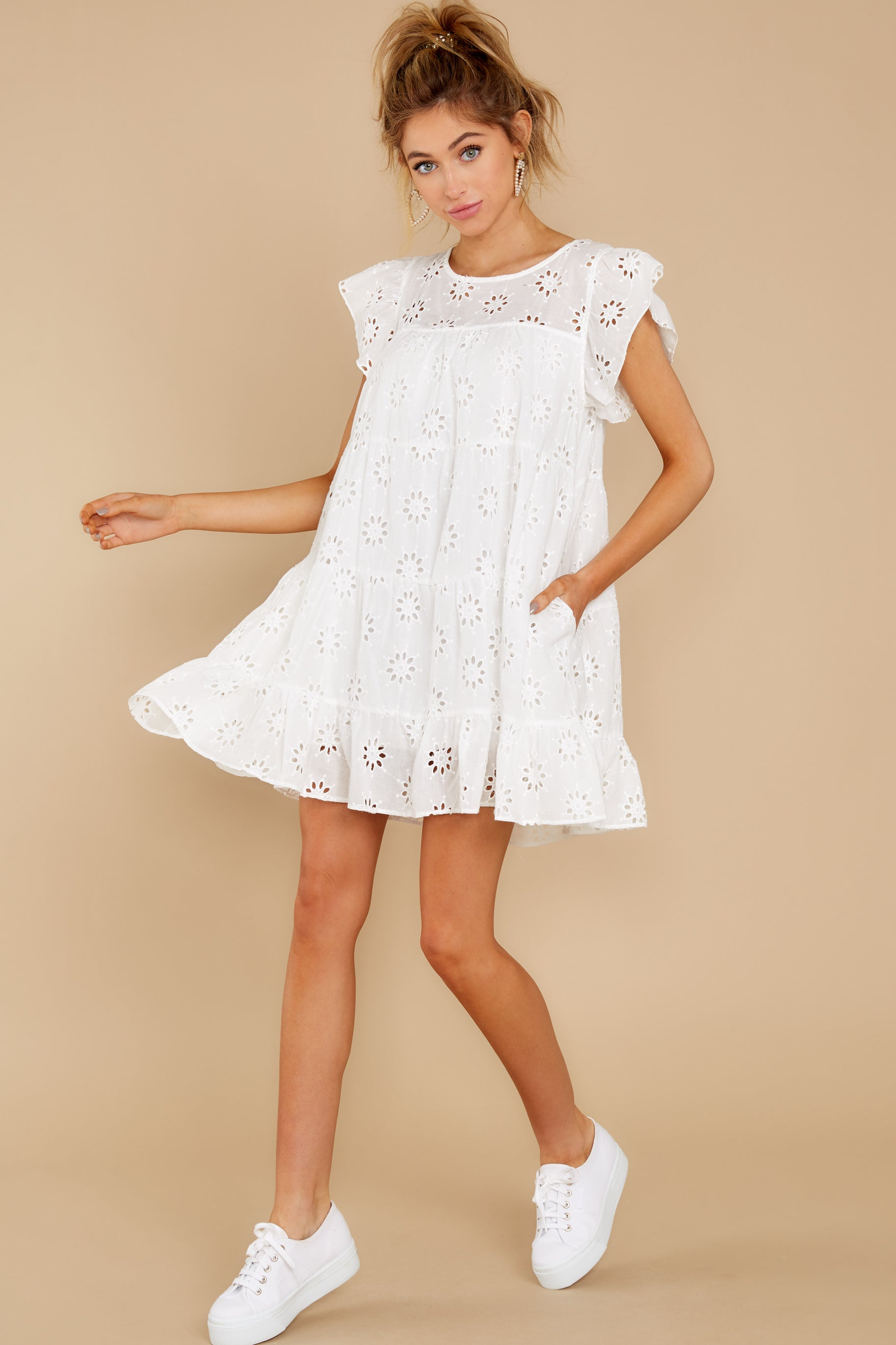 3 Eye For An Eyelet White Dress at reddress.com