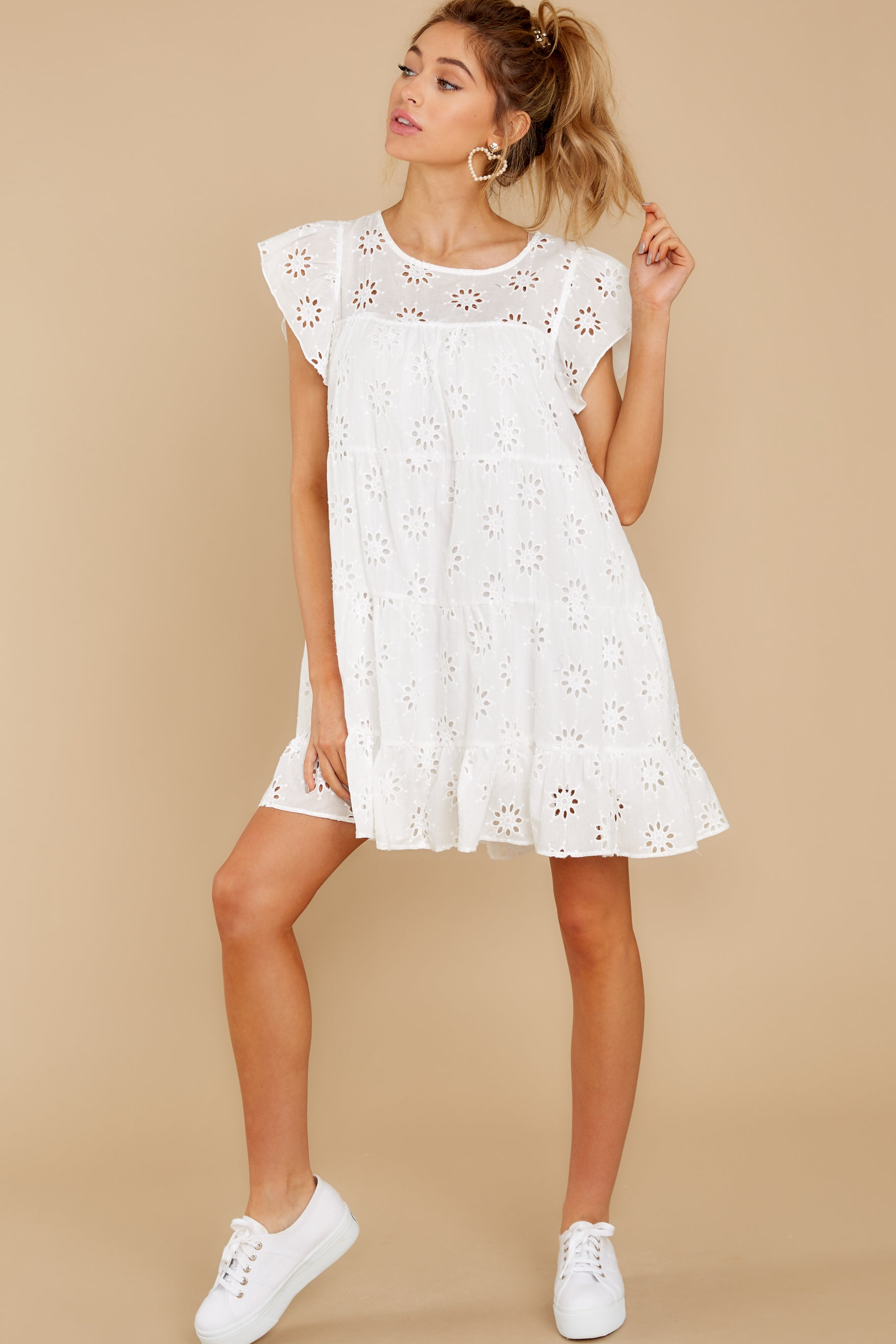 4 Eye For An Eyelet White Dress at reddress.com