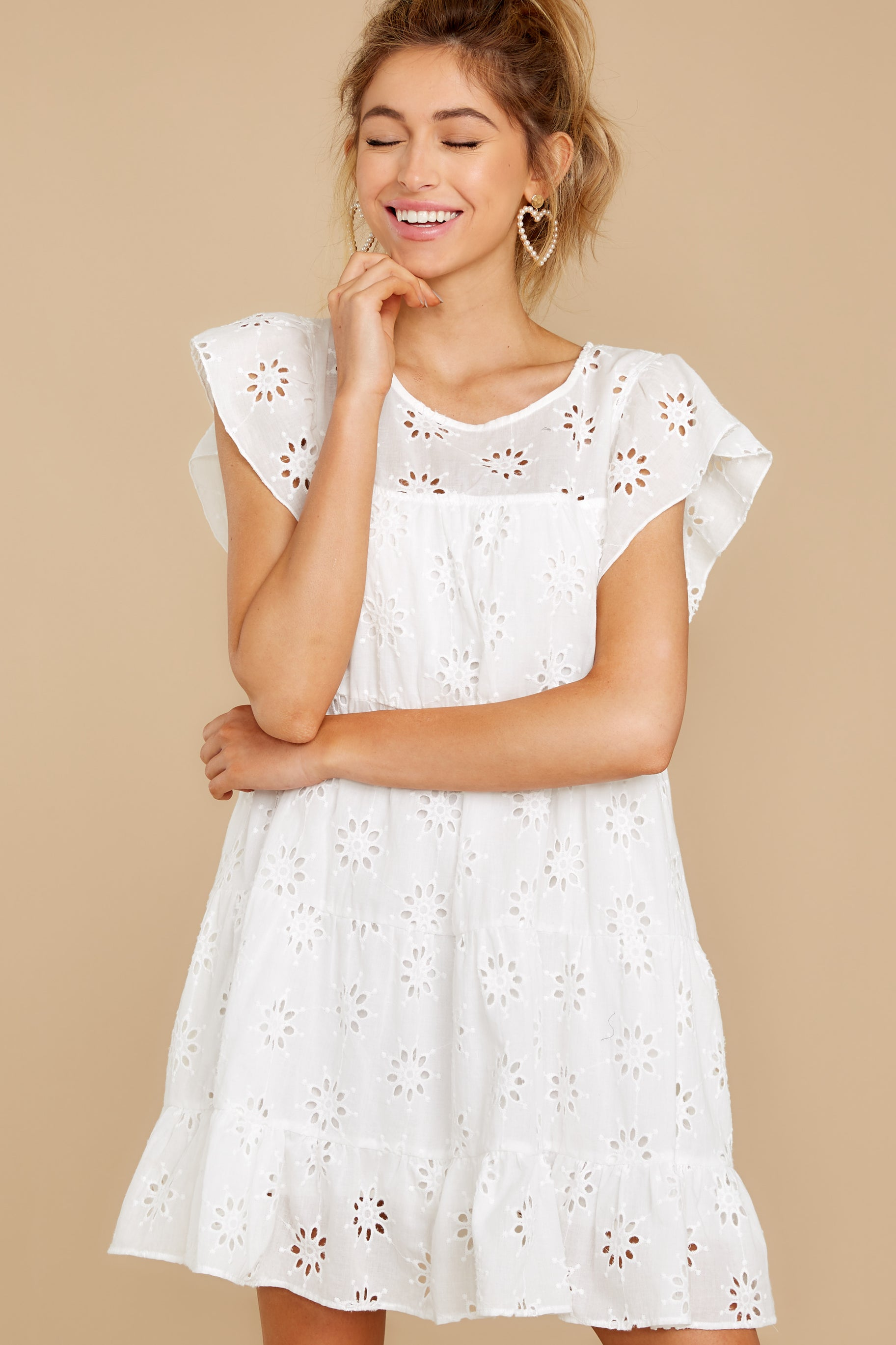 6 Eye For An Eyelet White Dress at reddress.com