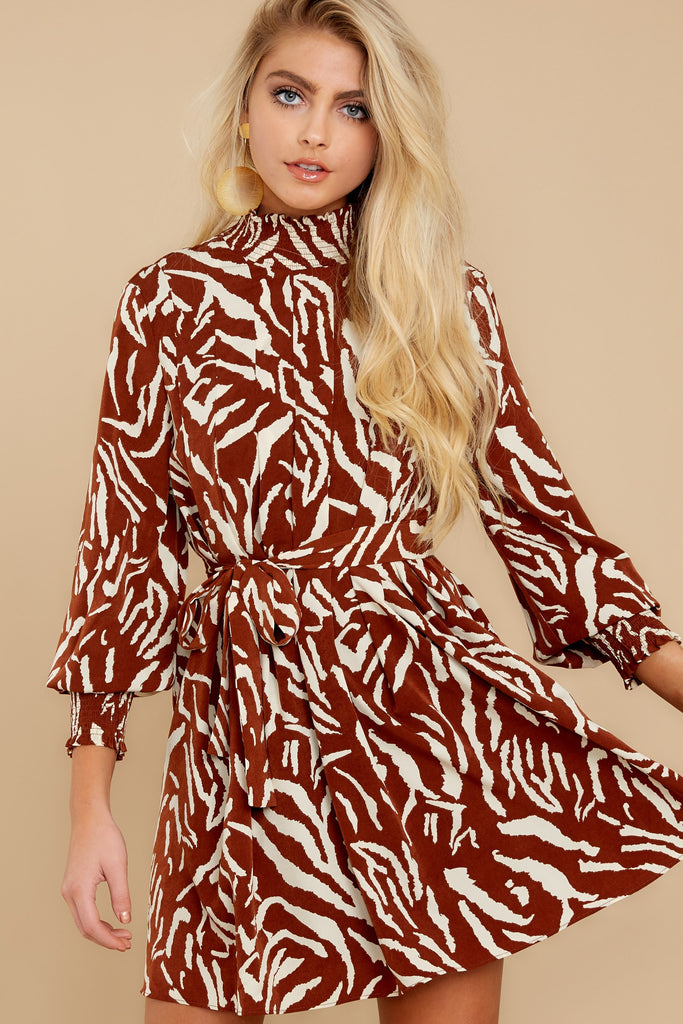 1 Unrivaled Style Mocha Brown Print Dress at reddressboutique.com
