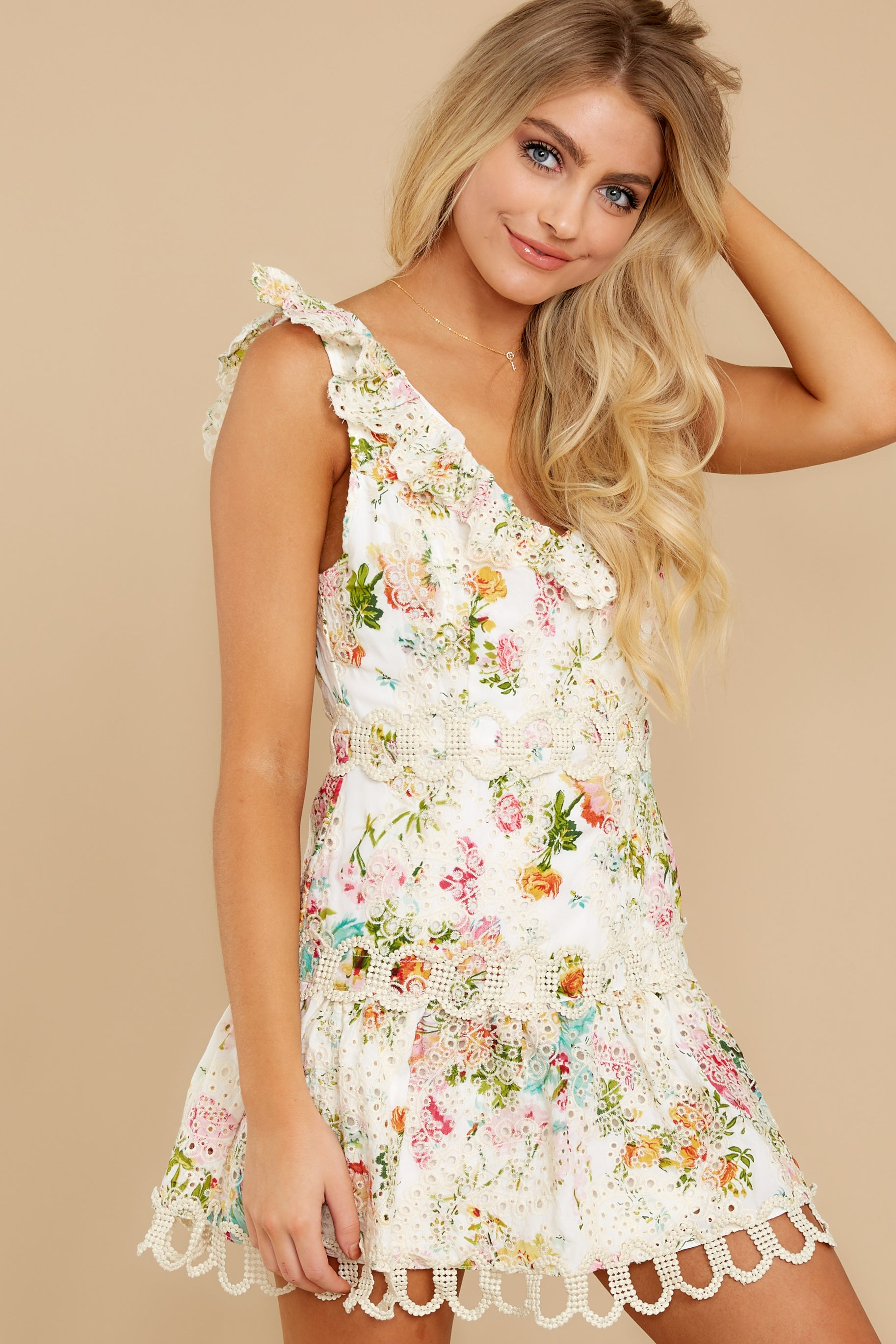 1 Looking For The One Floral Eyelet Dress at reddress.com