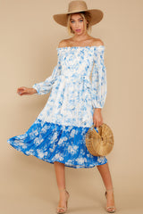 2 Looking Forward To Spring Blue Multi Off The Shoulder Midi Dress at reddress.com