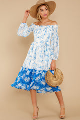 3 Looking Forward To Spring Blue Multi Off The Shoulder Midi Dress at reddress.com