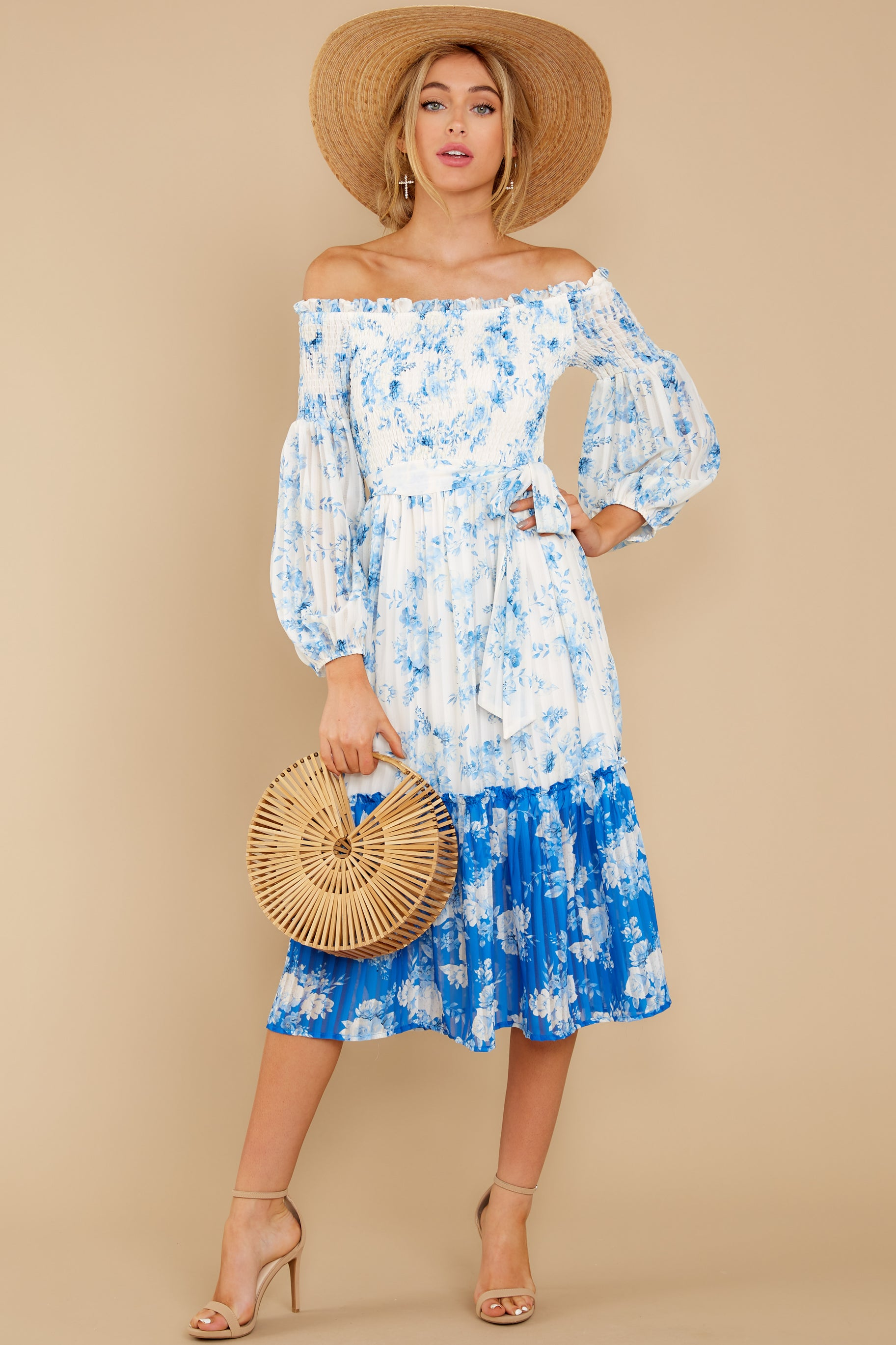 4 Looking Forward To Spring Blue Multi Off The Shoulder Midi Dress at reddress.com