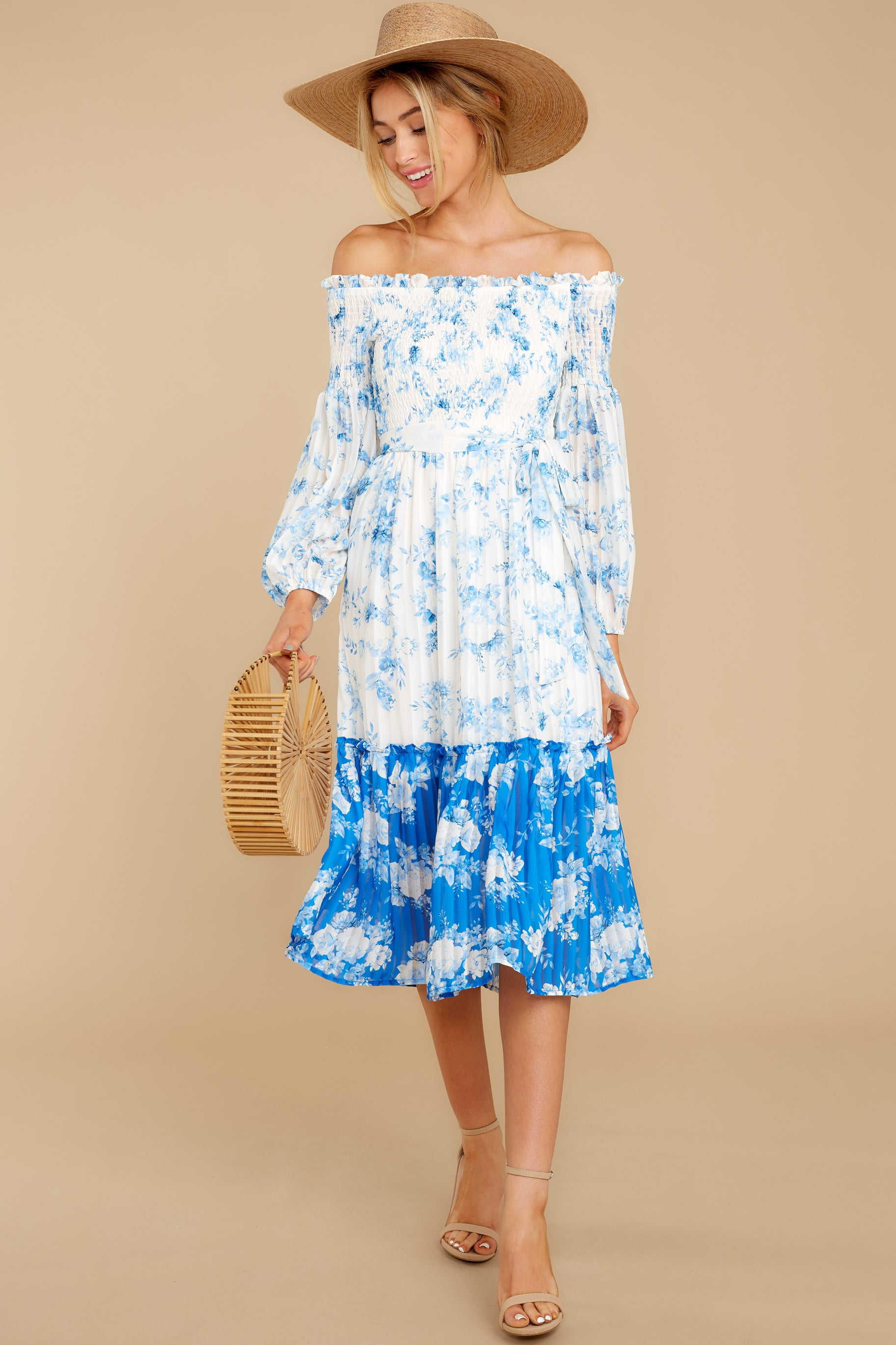 5 Looking Forward To Spring Blue Multi Off The Shoulder Midi Dress at reddress.com