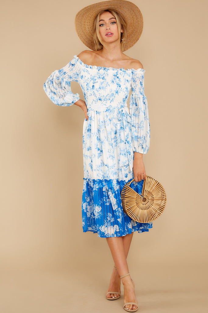 5 Happy About It Blue Floral Print Off The Shoulder Dress at reddress.com