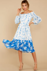6 Looking Forward To Spring Blue Multi Off The Shoulder Midi Dress at reddress.com