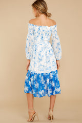 7 Looking Forward To Spring Blue Multi Off The Shoulder Midi Dress at reddress.com