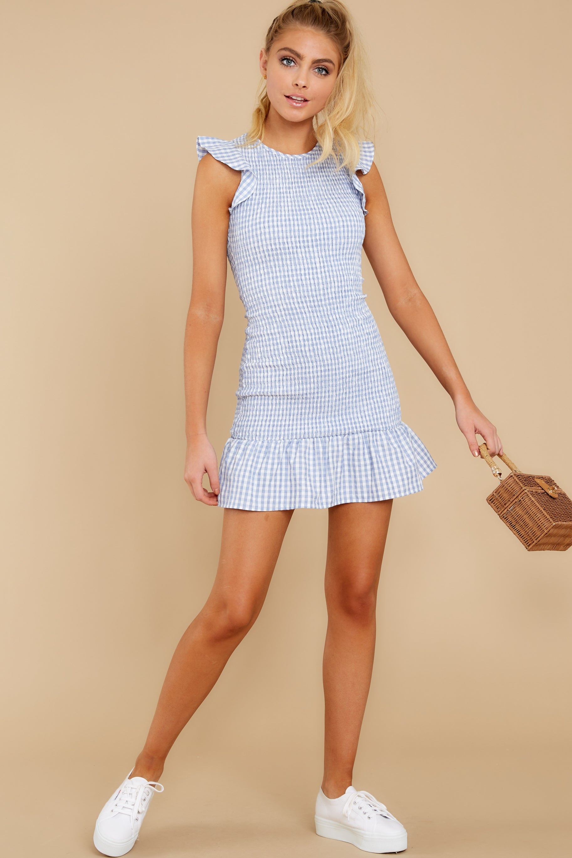 Sun Seeker Light Blue Gingham Dress