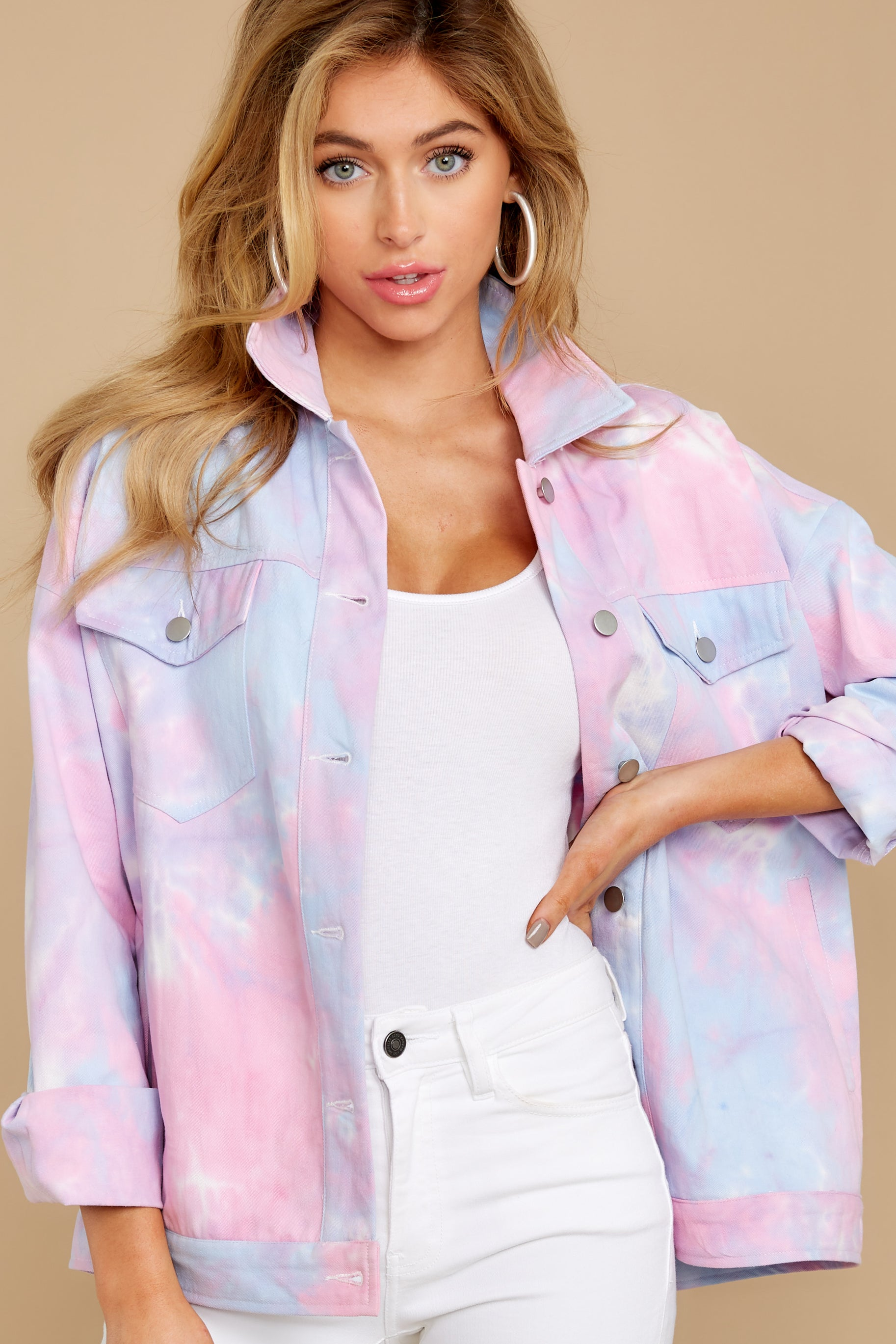 New Vintage Style Coats & Jackets – 30s, 40s, 50s, 60s Got It Covered Pink Multi Tie Dye Jacket $54.00 AT vintagedancer.com