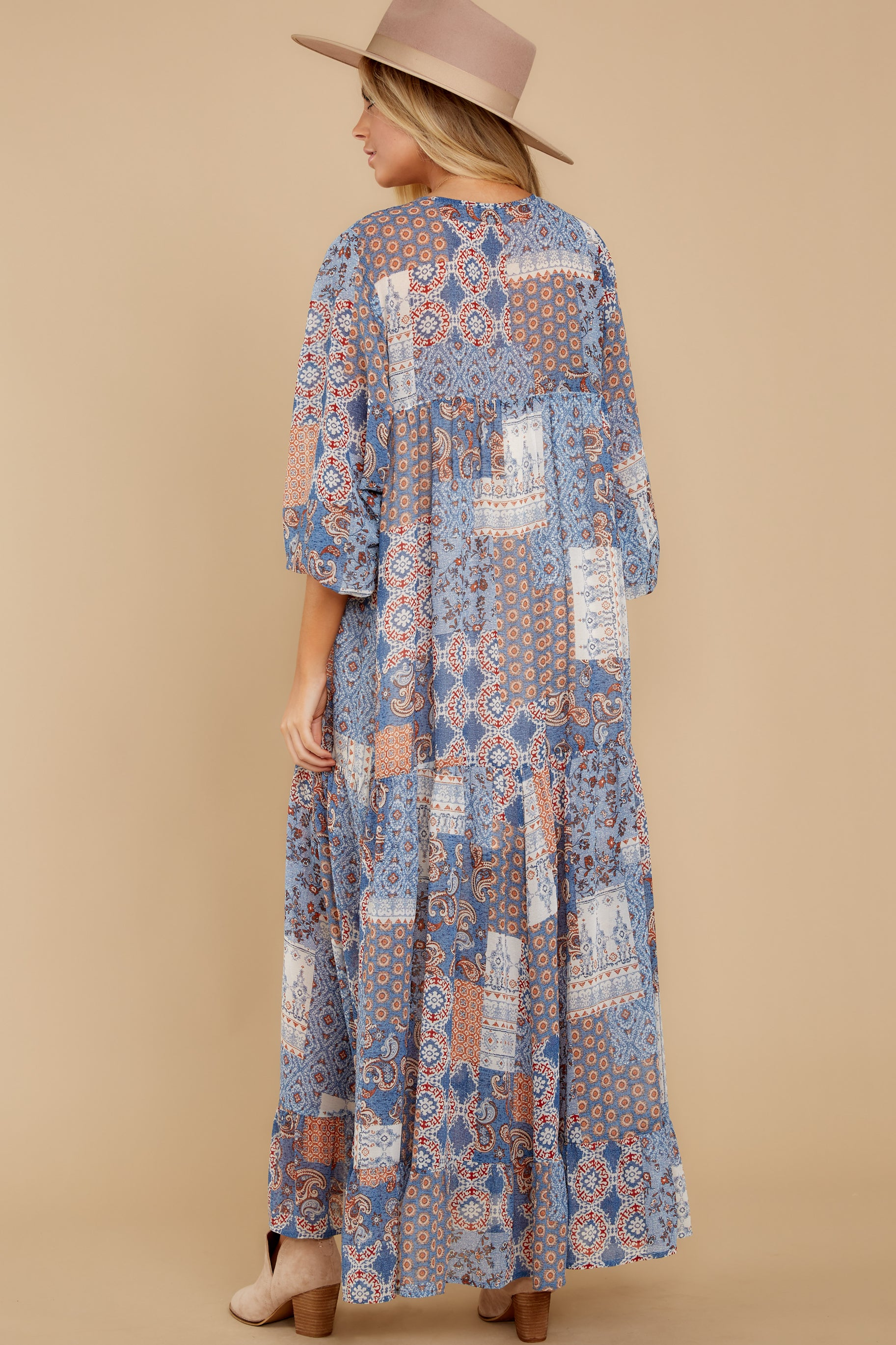 Hello To You Blue Multi Maxi Dress