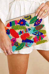 1 Nothing Like You Red And Blue Multi Embroidered Clutch at reddress.com