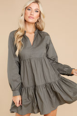 6 Lost In Your Eyes Dark Olive Green Dress at reddress.com