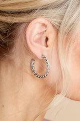 1 Turning Point Silver Hoops at reddress.com