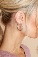 2 Turning Point Silver Hoops at reddress.com