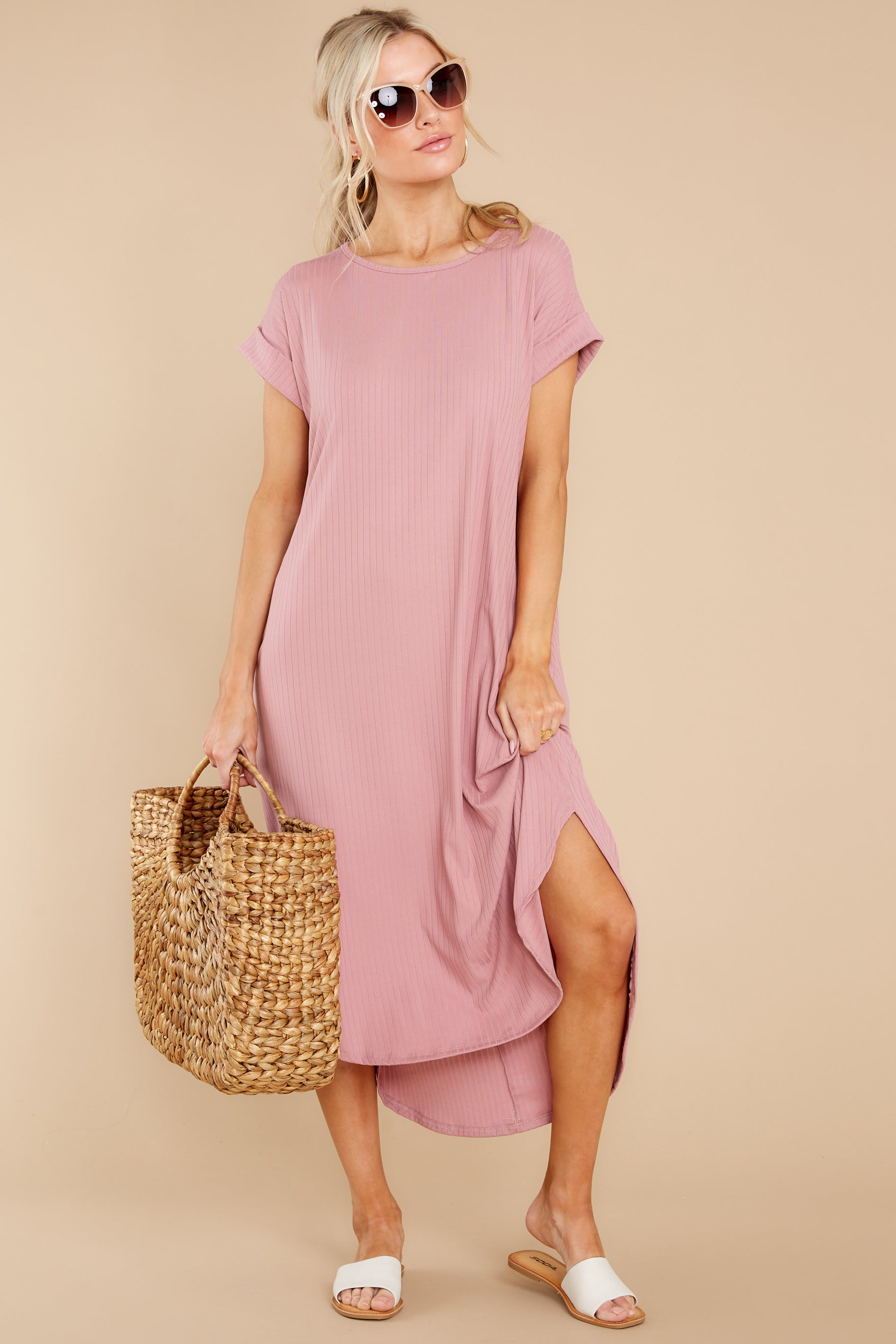 3 Come Away With Me Mauve Blush Midi Dress at reddress.com