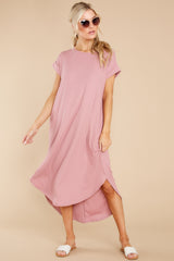 4 Come Away With Me Mauve Blush Midi Dress at reddress.com