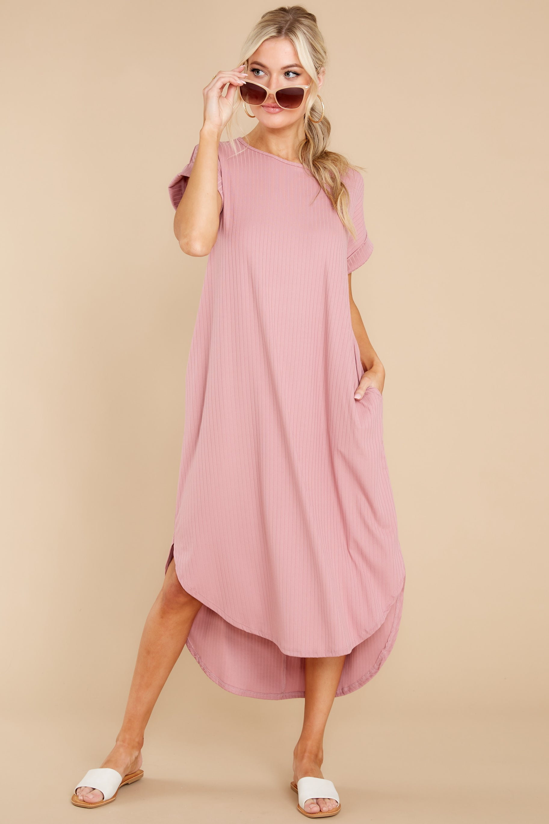 5 Come Away With Me Mauve Blush Midi Dress at reddress.com