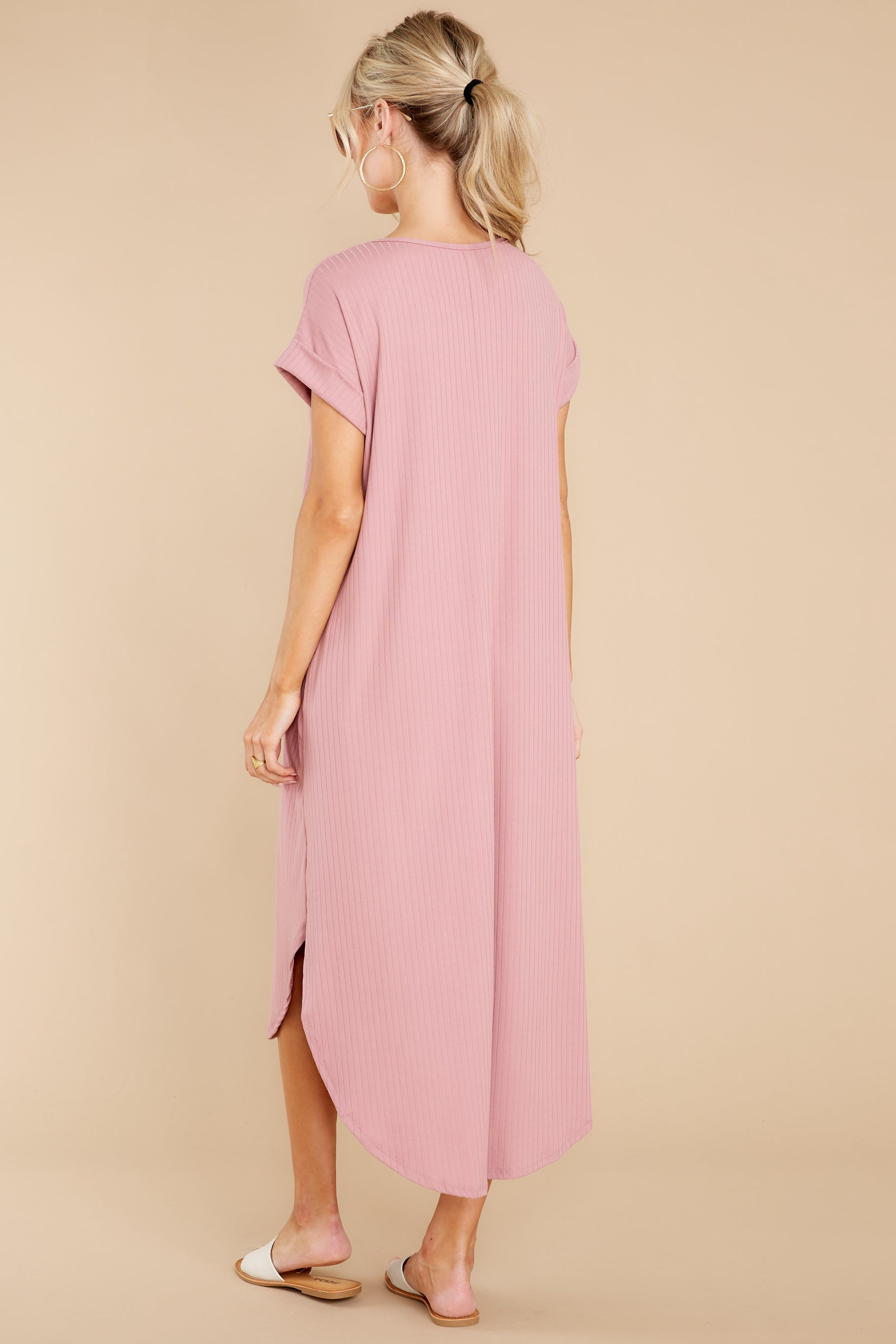 8 Come Away With Me Mauve Blush Midi Dress at reddress.com