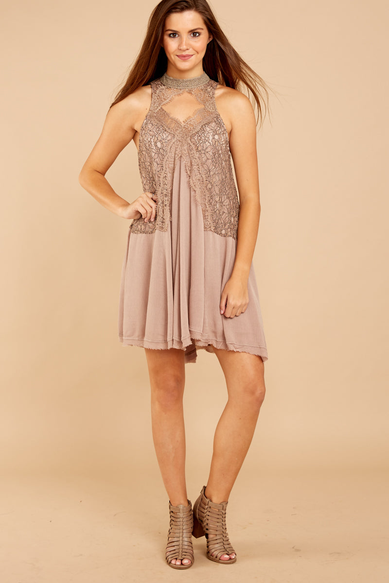 1 Lovely Edge Taupe Lace Dress at reddressboutique.com
