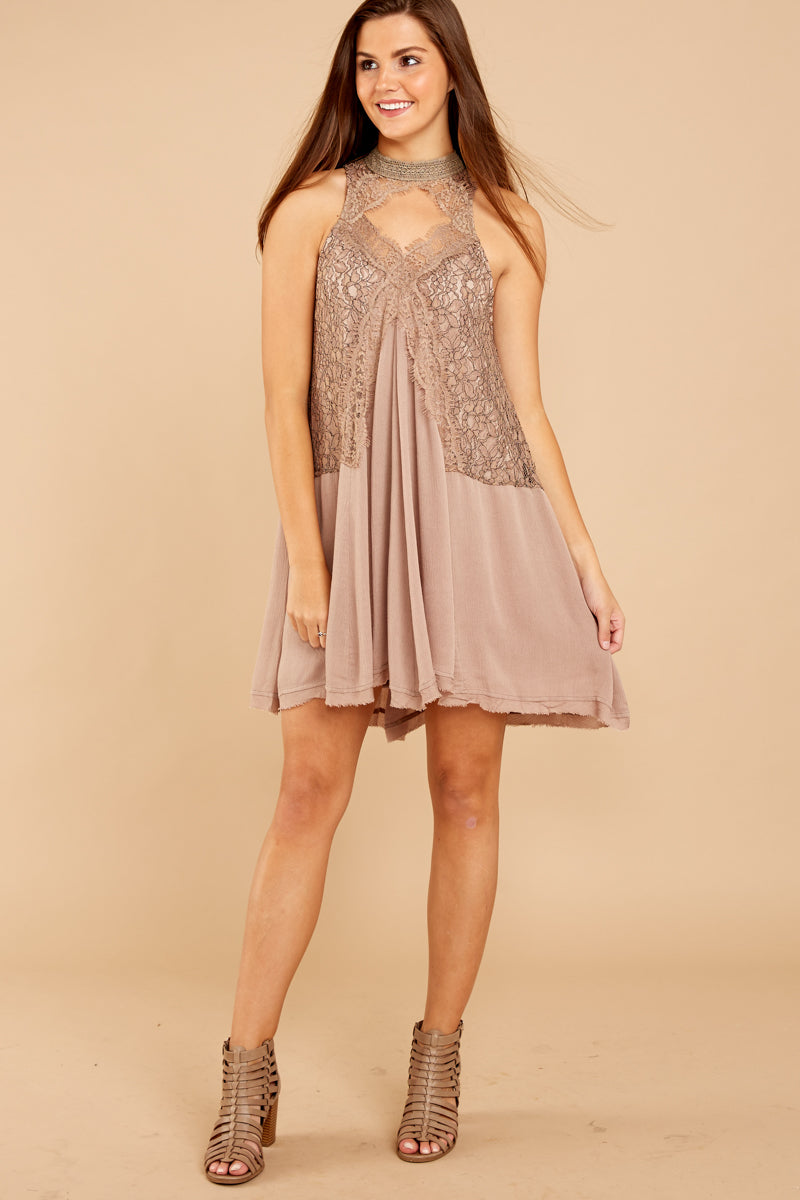 3 Lovely Edge Taupe Lace Dress at reddressboutique.com