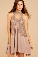 4 Lovely Edge Taupe Lace Dress at reddressboutique.com