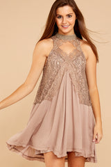 2 Lovely Edge Taupe Lace Dress at reddressboutique.com