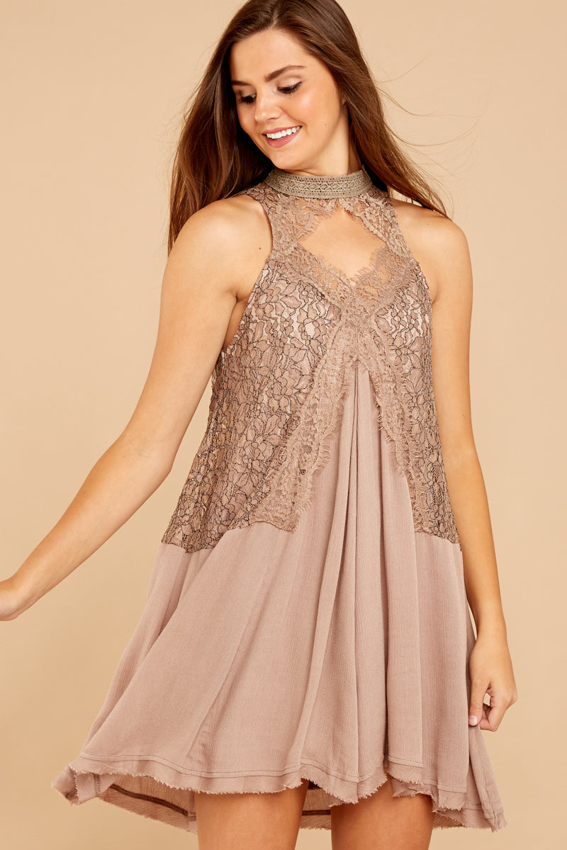 5 Lovely Edge Taupe Lace Dress at reddressboutique.com