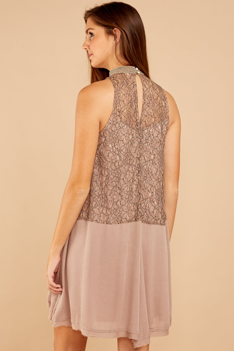 6 Lovely Edge Taupe Lace Dress at reddressboutique.com
