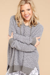 4 Sunday Snuggles Charcoal Grey Wubby Pullover at reddressboutique.com