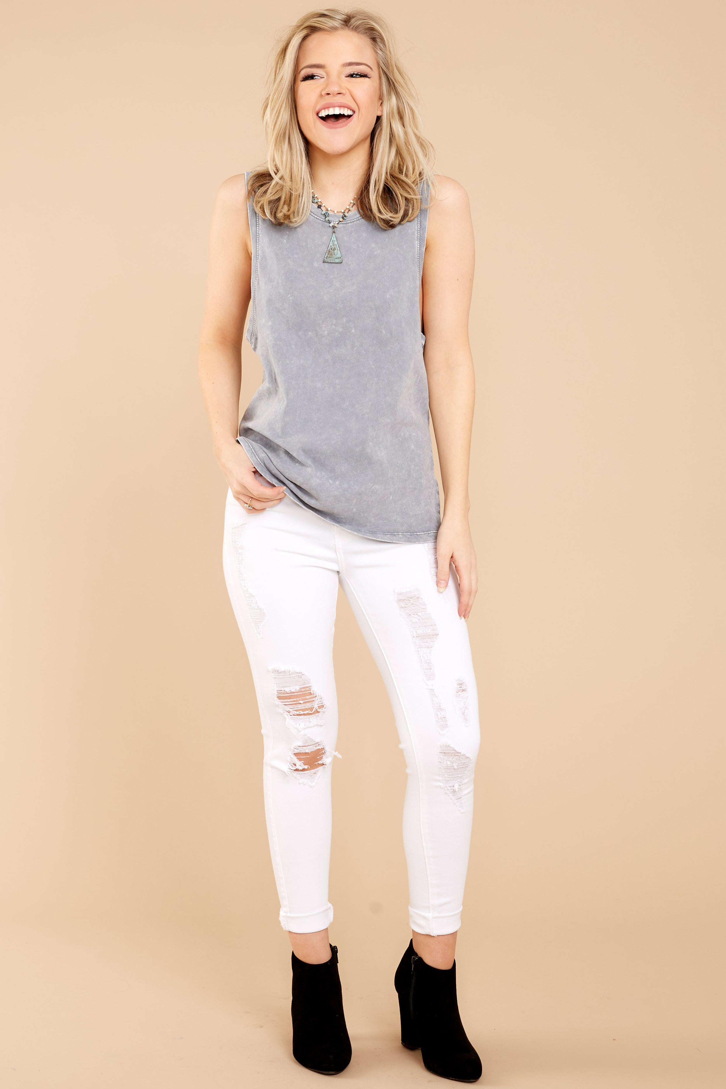 2 Z Supply Washed Muscle Tank In Grey at reddressboutique.com