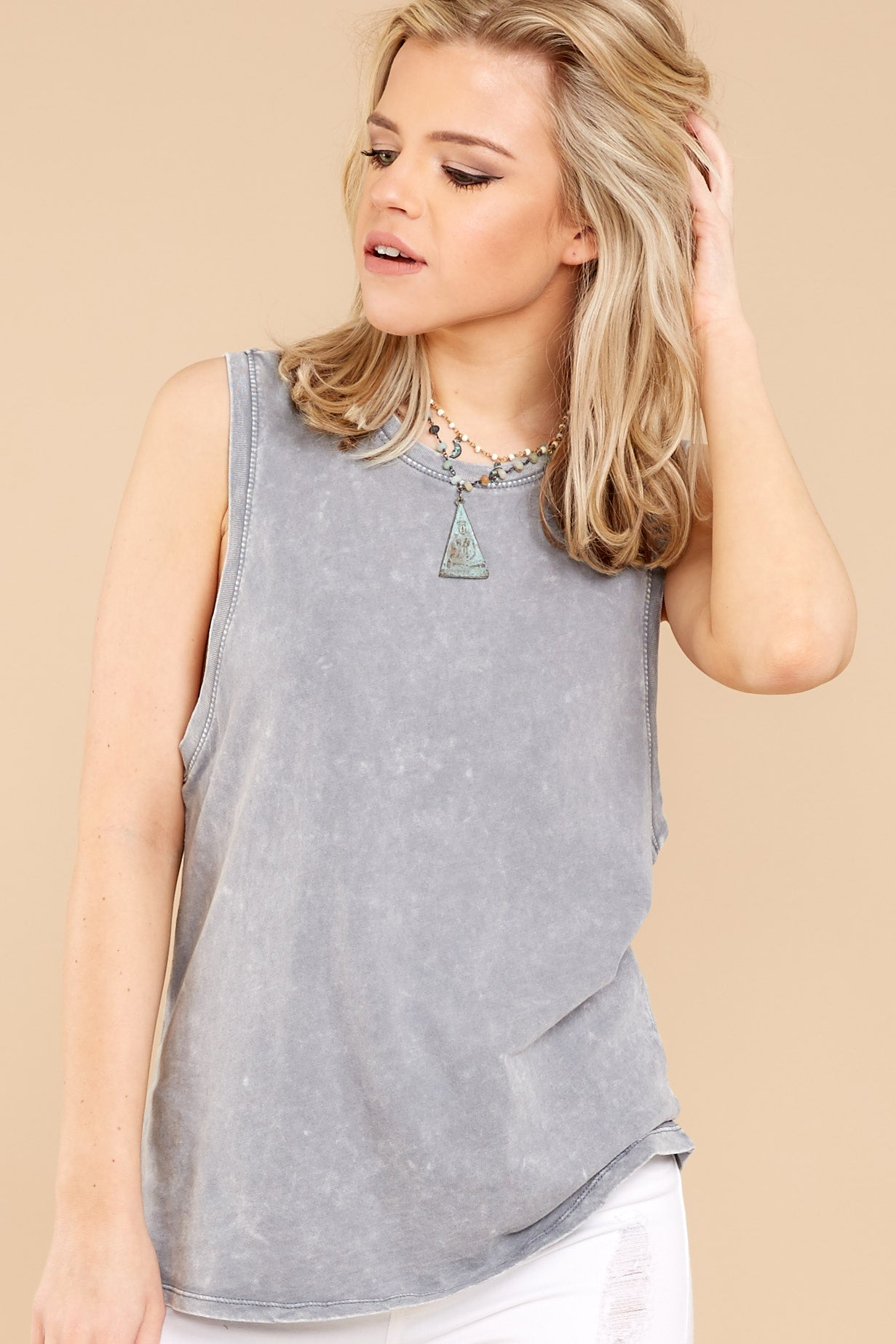1 Z Supply Washed Muscle Tank In Grey at reddressboutique.com