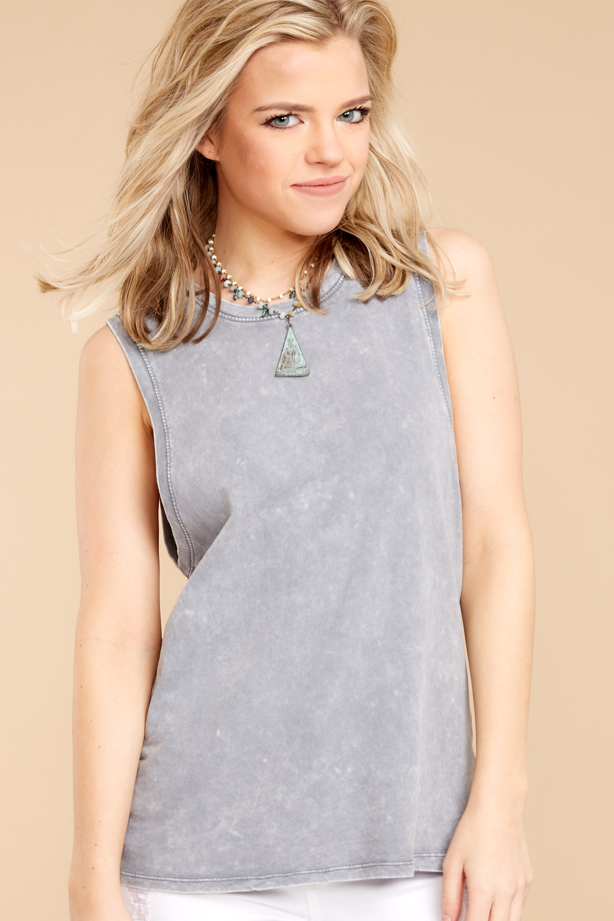 3 Z Supply Washed Muscle Tank In Grey at reddressboutique.com
