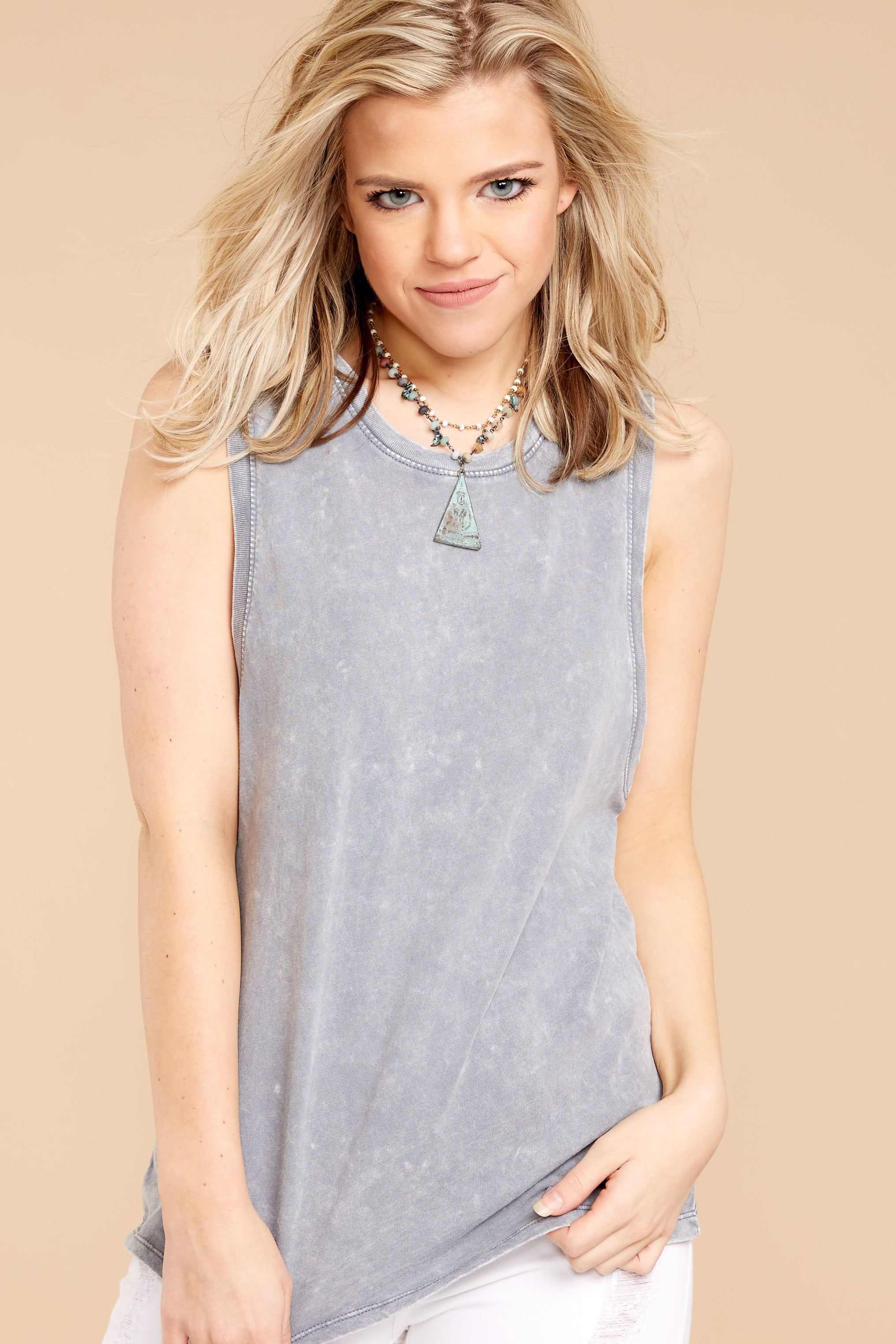 4 Z Supply Washed Muscle Tank In Grey at reddressboutique.com