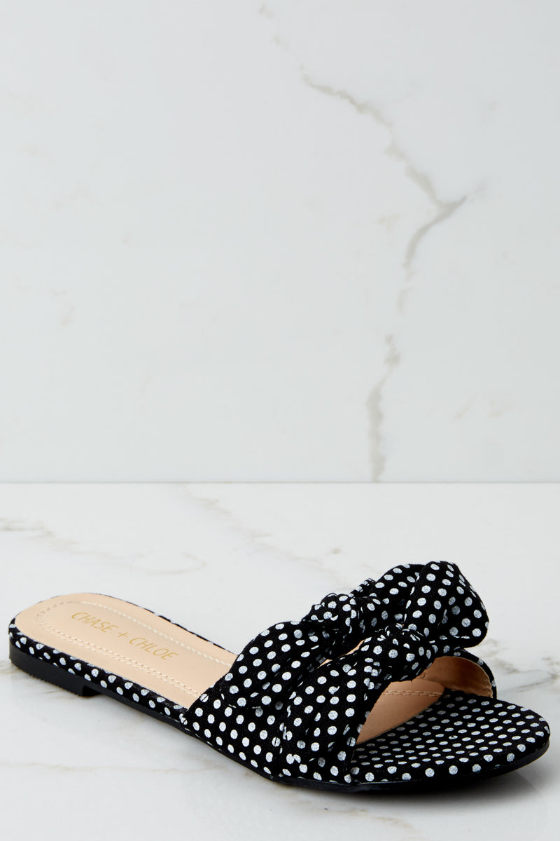 1 A Little Prep In Your Step Black Polka Dot Slide Sandals at reddresssboutique.com