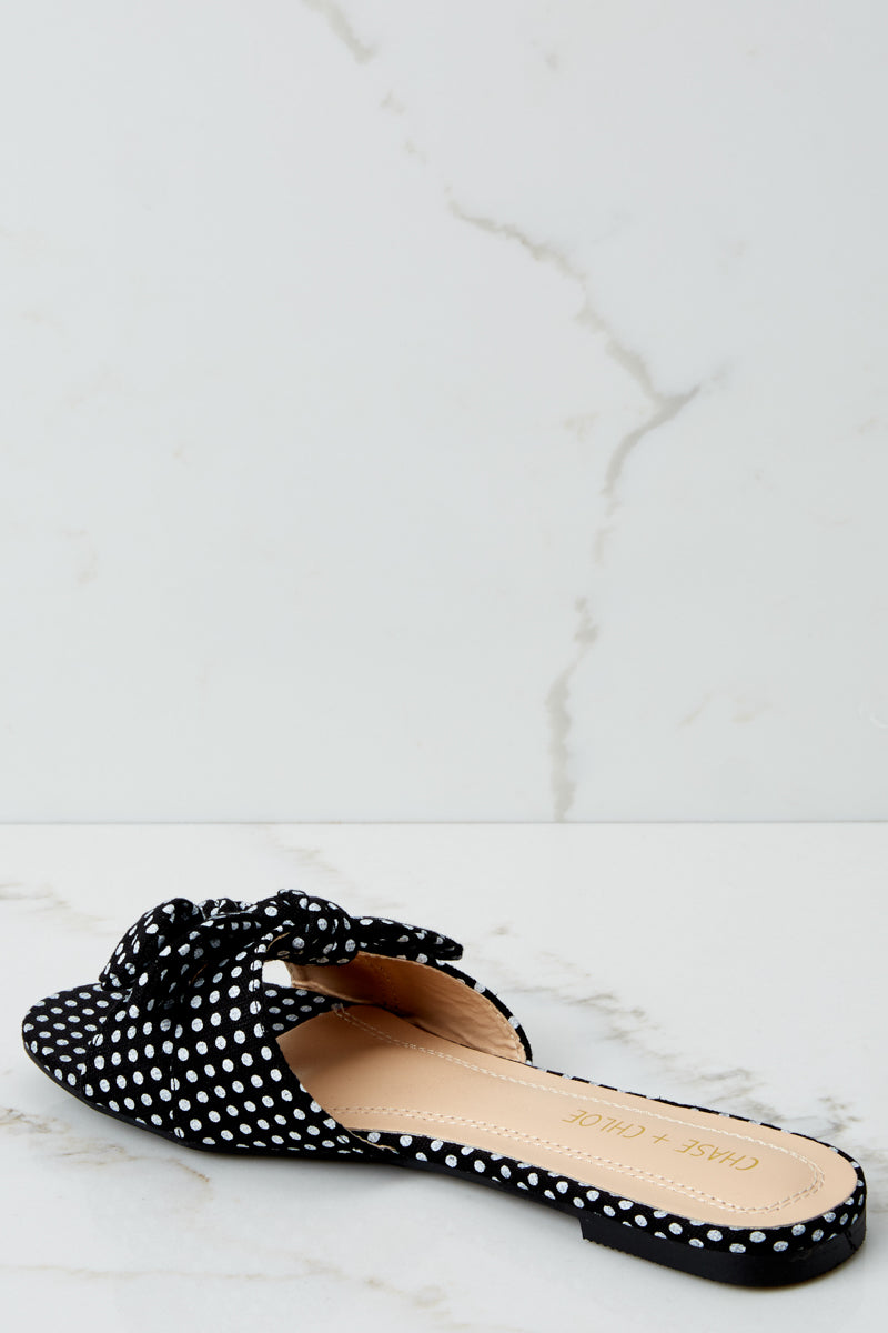 3 A Little Prep In Your Step Black Polka Dot Slide Sandals at reddresssboutique.com