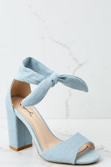 3 Just Like That Light Denim Blue Ankle Wrap Heels at reddressboutique.com