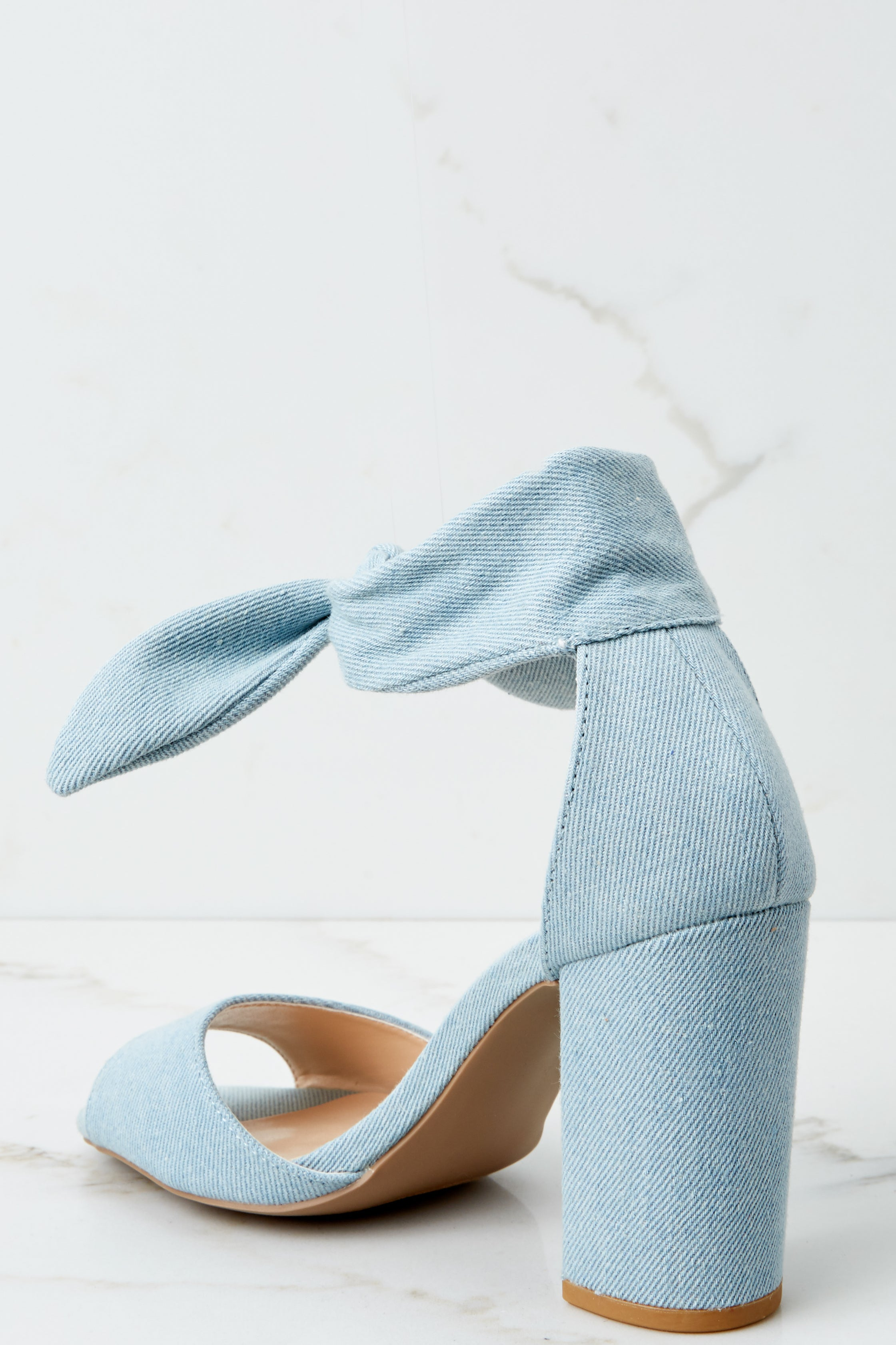 1 Just Like That Light Denim Blue Ankle Wrap Heels at reddressboutique.com