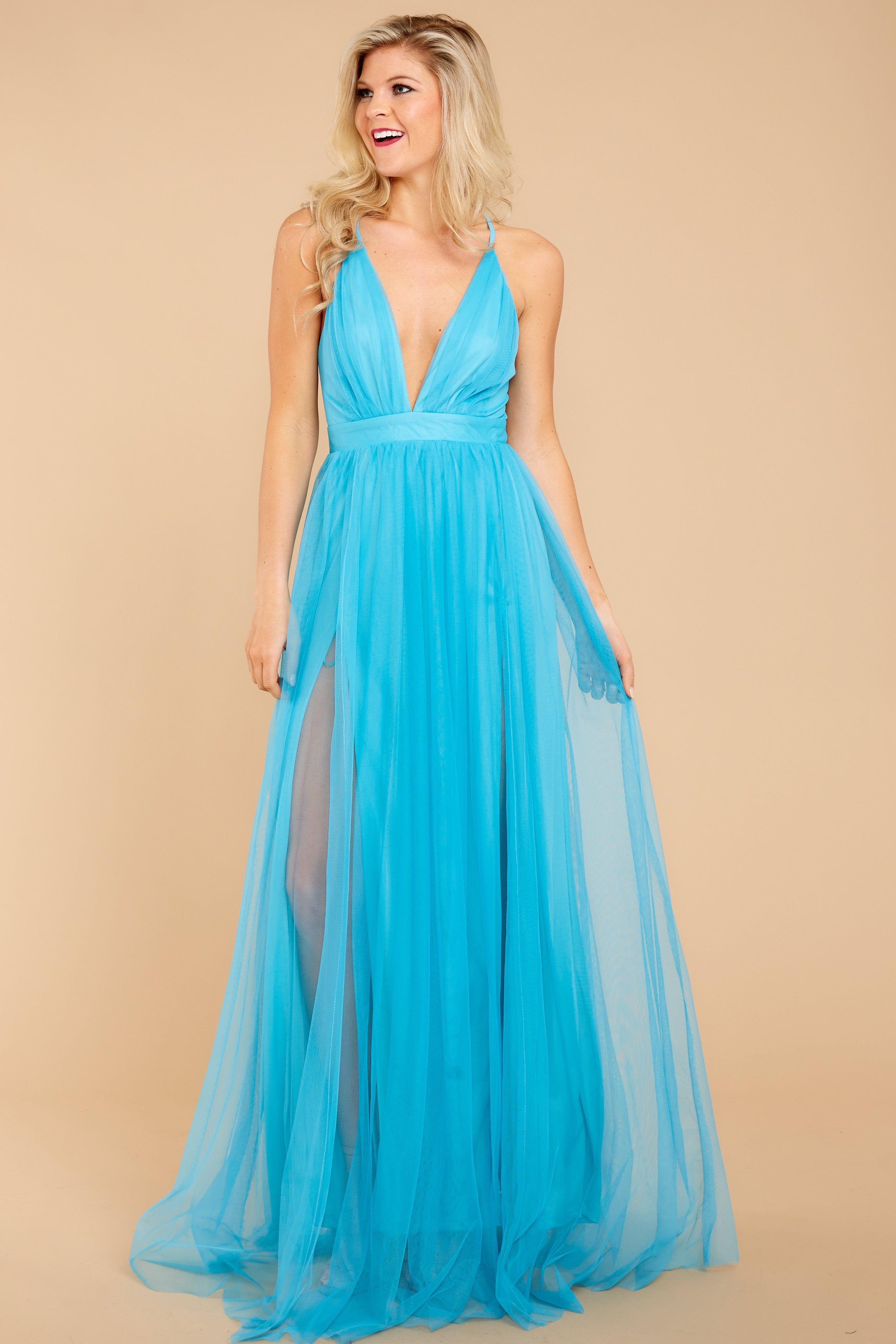 3 Ever After Matters Of The Heart Island Blue Maxi Dress at reddressboutique.com