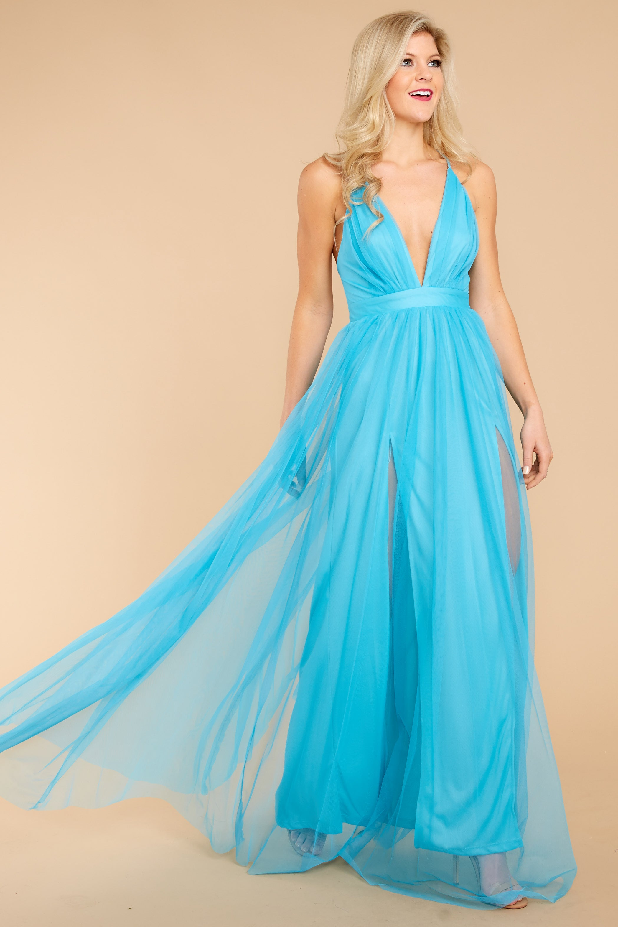 4 Ever After Matters Of The Heart Island Blue Maxi Dress at reddressboutique.com