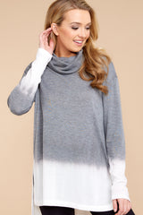 7 Take The Long Way Dark Grey Sweater at reddressboutique.com