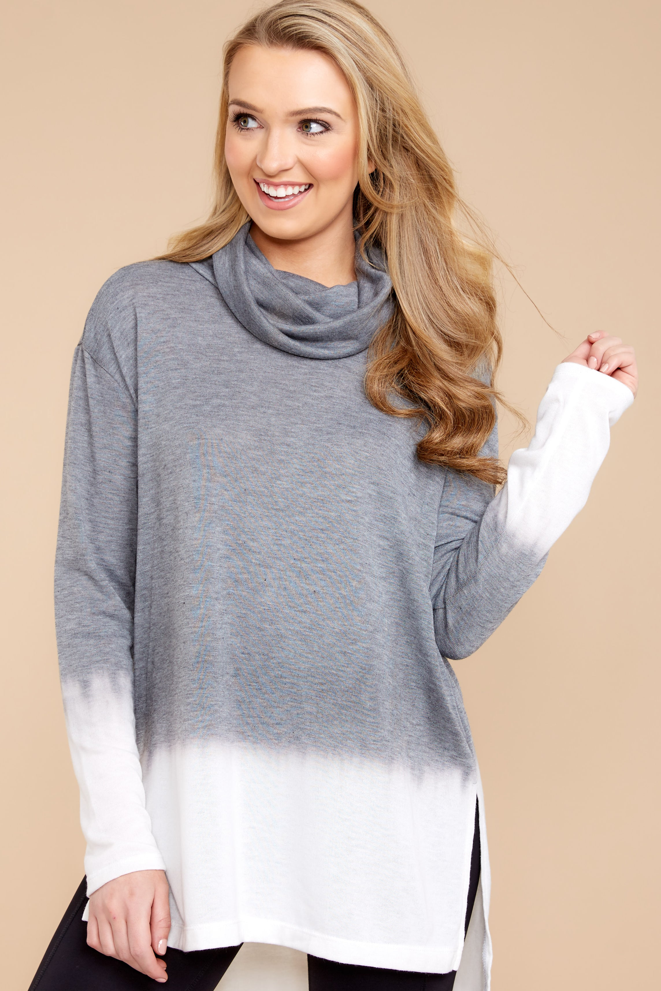 1 Take The Long Way Dark Grey Sweater at reddressboutique.com