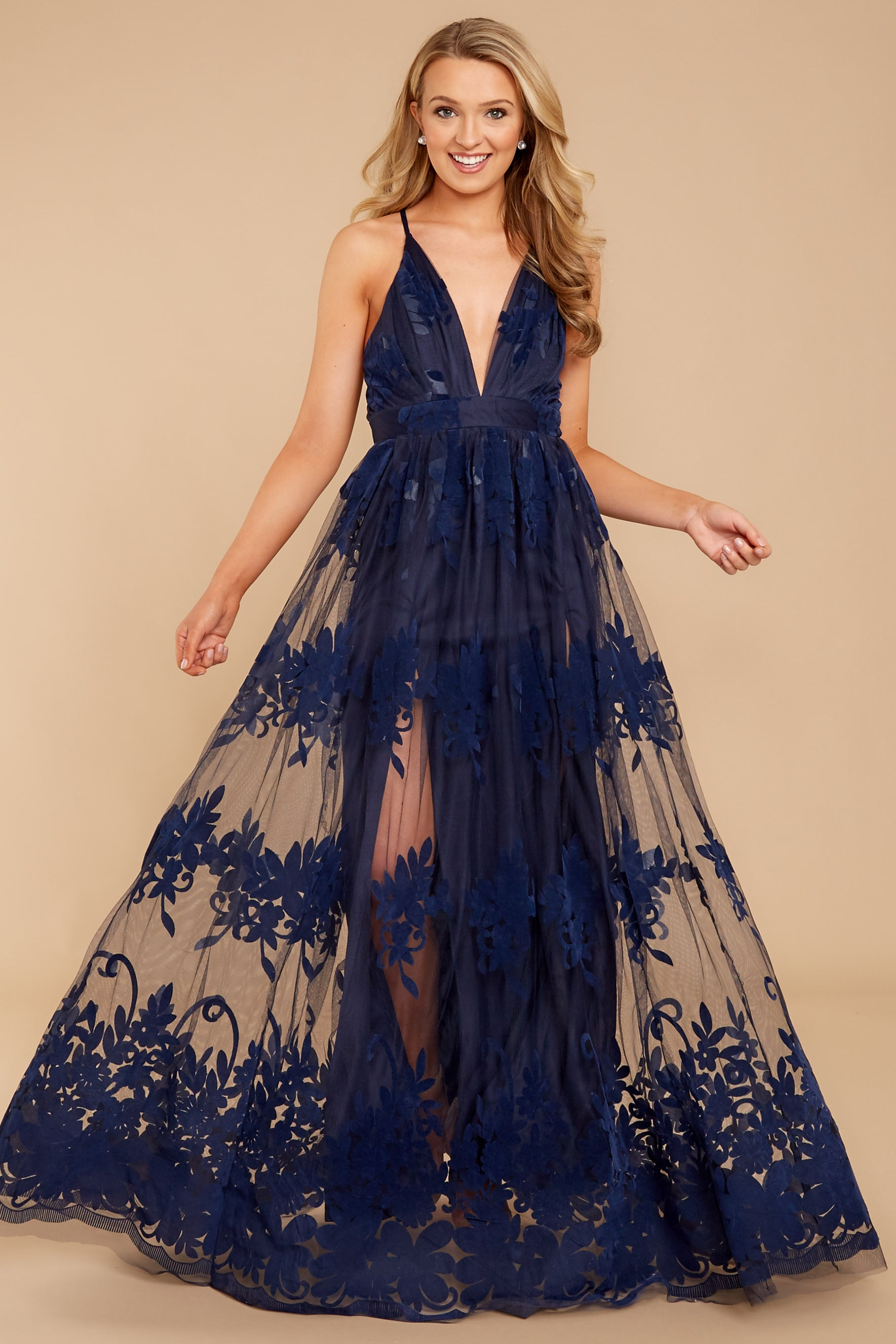 70bd896557 Gorgeous Navy Tulle Gown - Formal Lace Maxi Dress - Dress - $68.00 ...