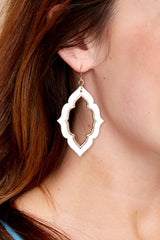1 Close To Your Heart White And Gold Earrings at reddressboutique.com