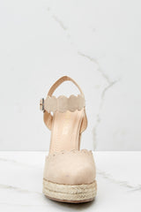 2 With Every Heartbeat Nude Platform Wedges at reddress.com