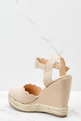 3 With Every Heartbeat Nude Platform Wedges at reddress.com