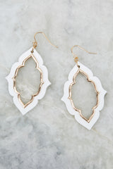 2 Close To Your Heart White And Gold Earrings at reddressboutique.com