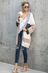 1 Cover The Basics Beige Multi Cardigan at reddressboutique.com