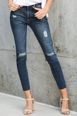 4 Make It Different Dark Wash Distressed Skinny Jeans at reddressboutique.com