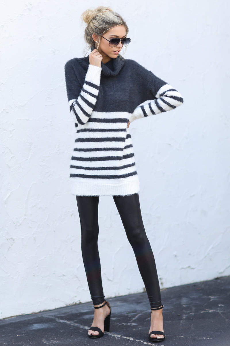 8 Keep Your Cool Charcoal Grey Stripe Sweater at reddressboutique.com